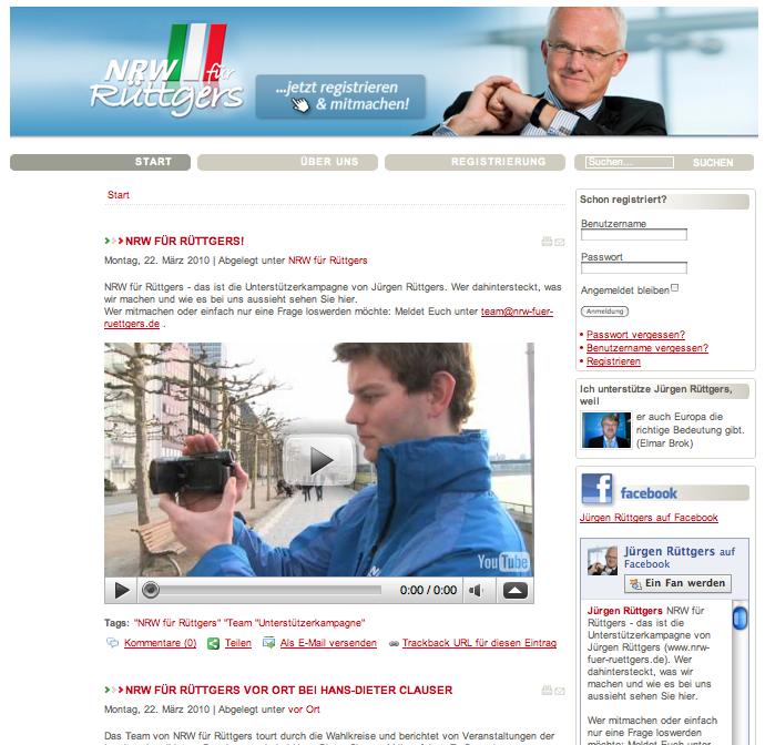 NRW für Rüttgers - Homepage Screenshot