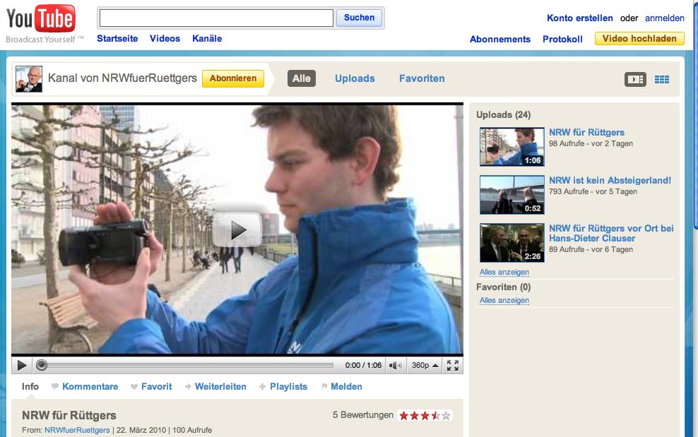 NRW für Rüttgers - YouTube Kanal