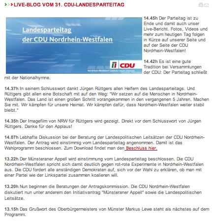 NRW für Rüttgers - Liveblogging