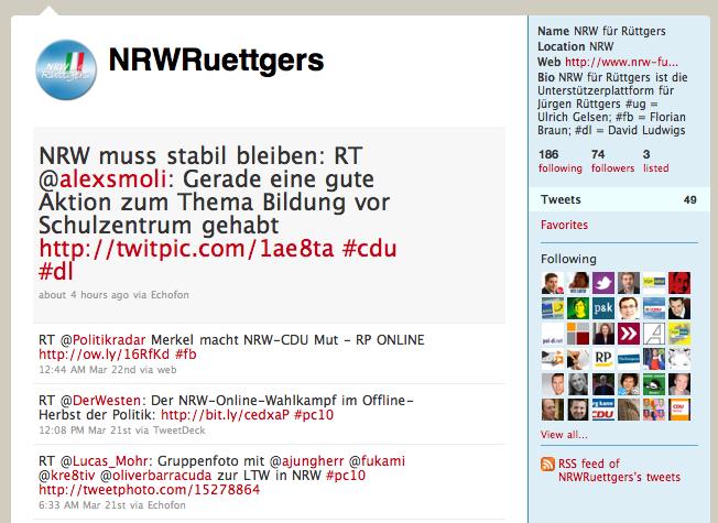 NRW für Rüttgers - Twitterfeed - @NRWRuettgers